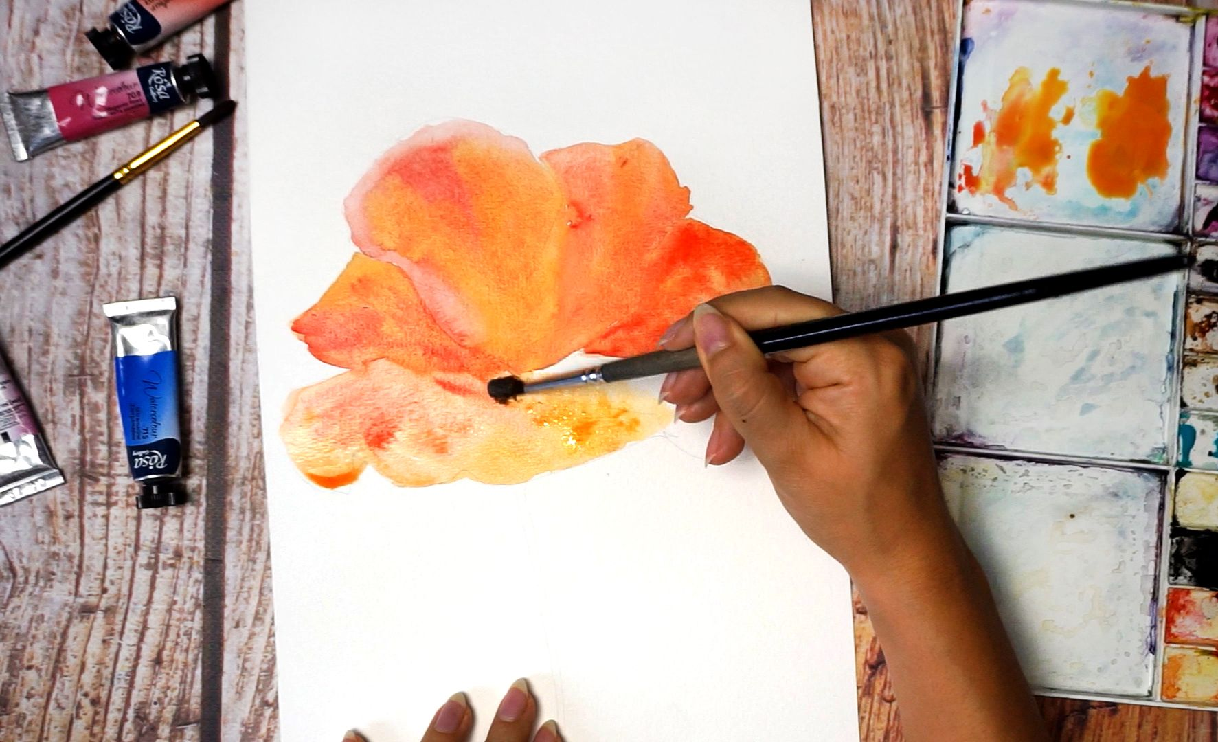 Paint a poppy flower with watercolor step by step 8