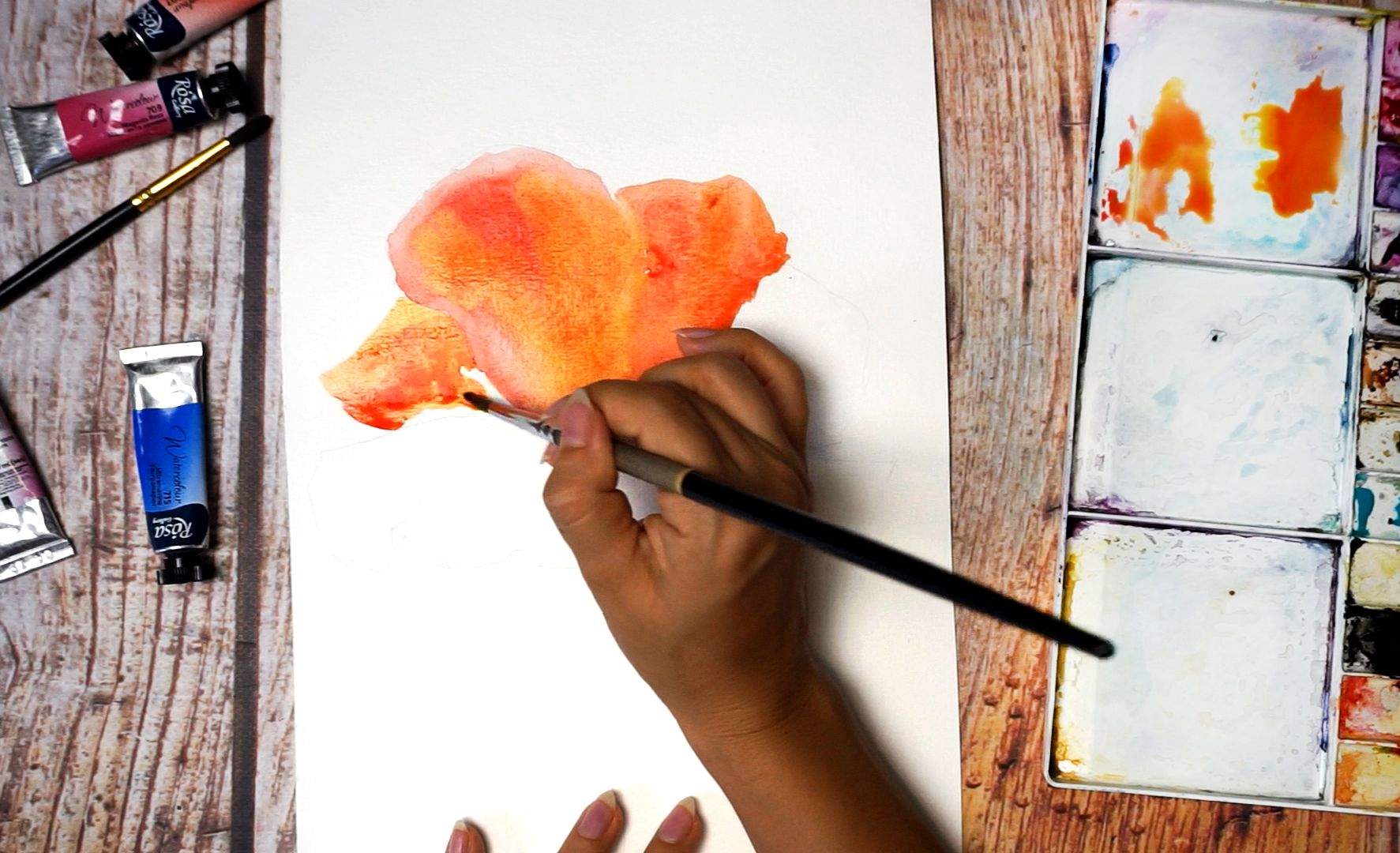 Paint a poppy flower with watercolor step by step 6