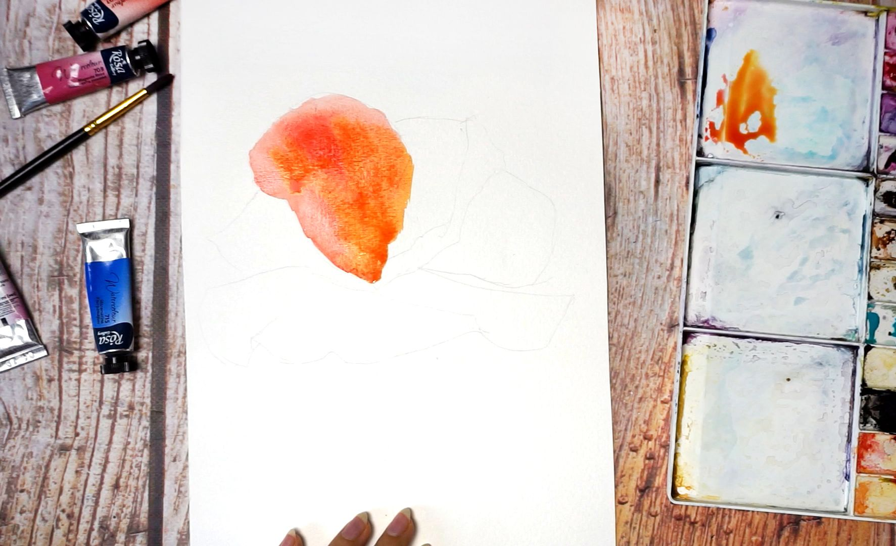 Paint a poppy flower with watercolor step by step 4