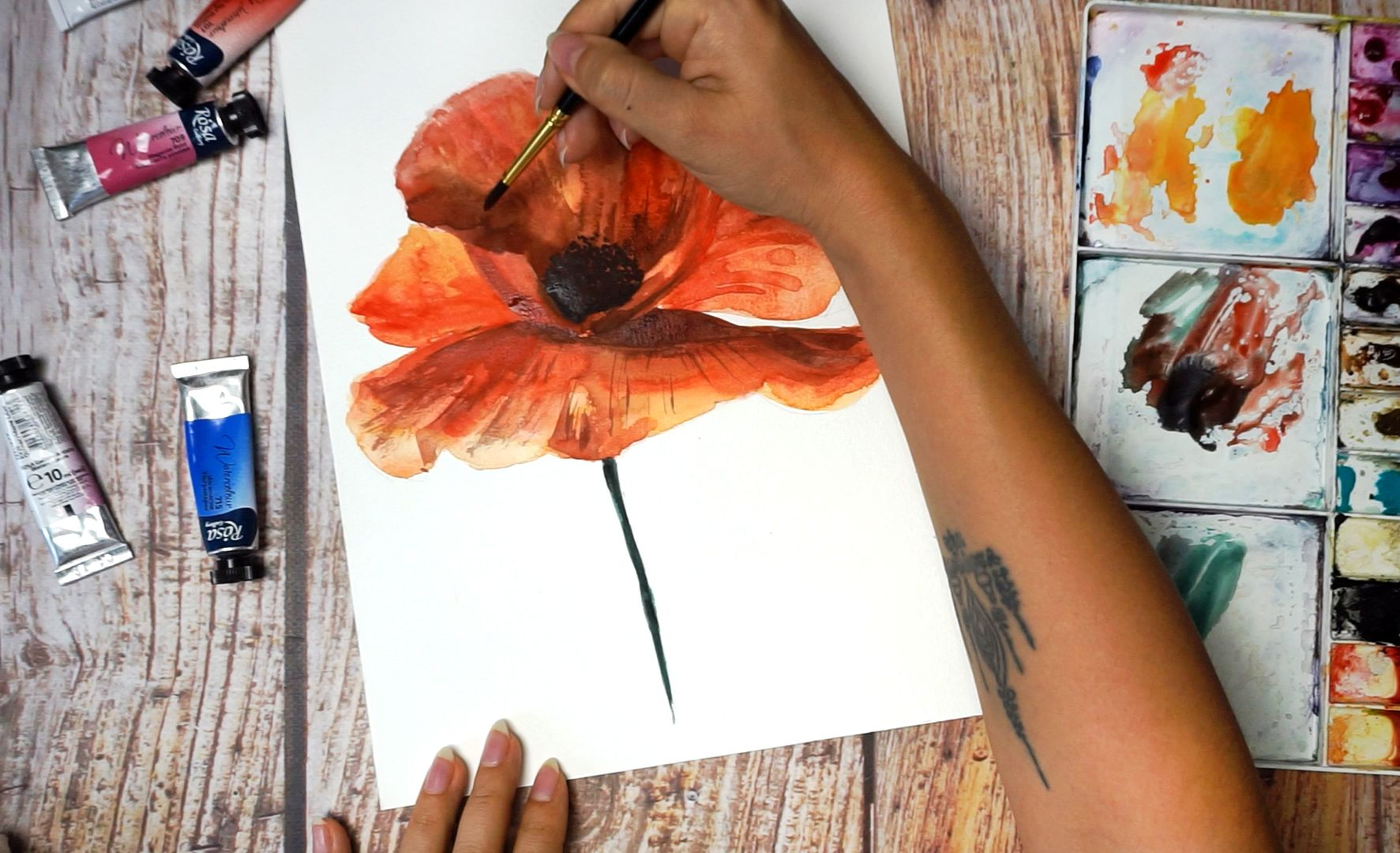 Paint a poppy flower with watercolor step by step 16