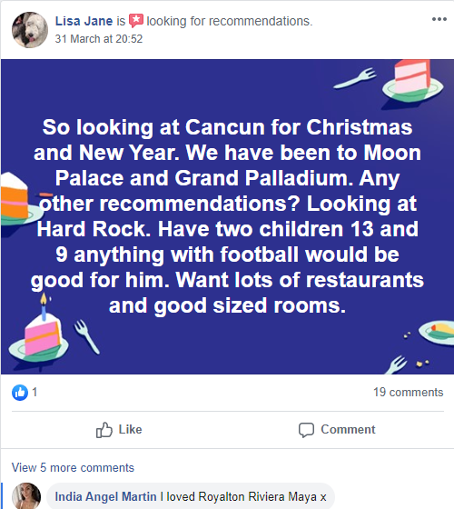Holiday recommendations on facebook