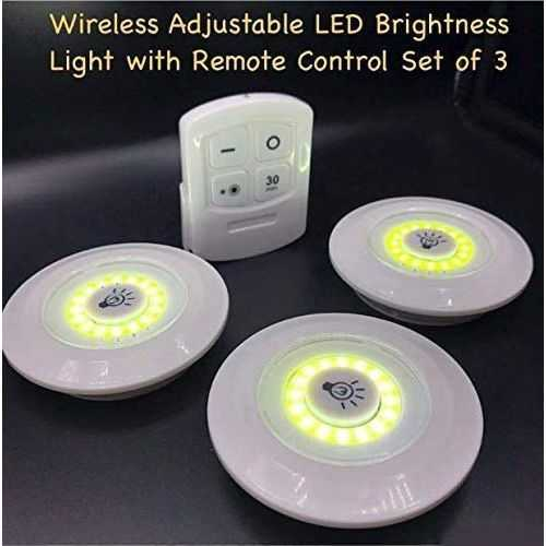 03 Led Spotlights With Remote Control - 3 Pcs