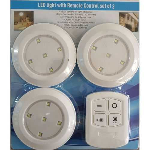 03 Led Spotlights With Remote Control - 3Pcs 1