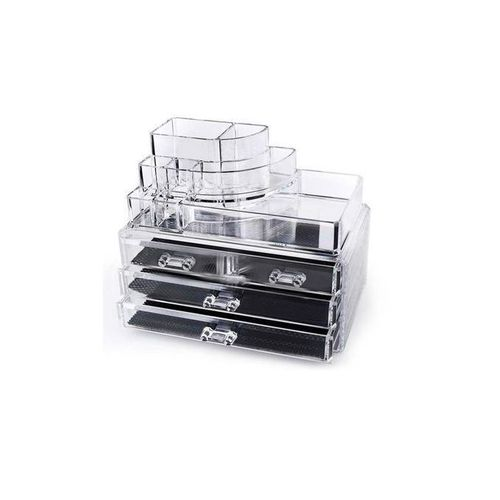 As Seen On Tv Cosmetic Makeup Organizer Box With 4 Drawers - Clear 4