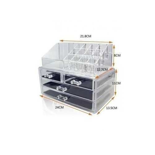 Cosmetic Makeup Organizer Box With 4 Drawers - Clear 1