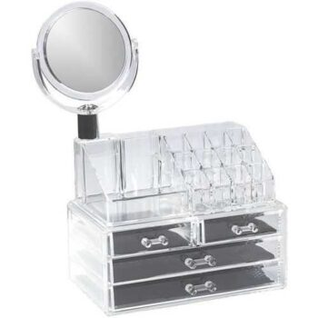 Cosmetic Makeup Organizer Rack With 3 Drawers And Mirror