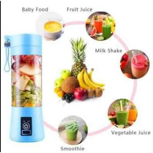 Portable And Rechargeable Battery Juice Blender - 380Ml - Blue