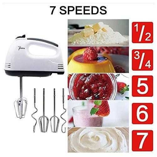 Portable Hand Mixer Machine With 7 Speed + 4 Pcs Stainless Blender 2