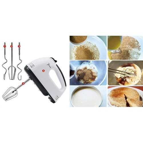Portable Hand Mixer Machine With 7 Speed + 4 Pcs Stainless Blender 3