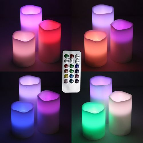 Real Wax Led Color Changing Candle - 3 Pcs 1