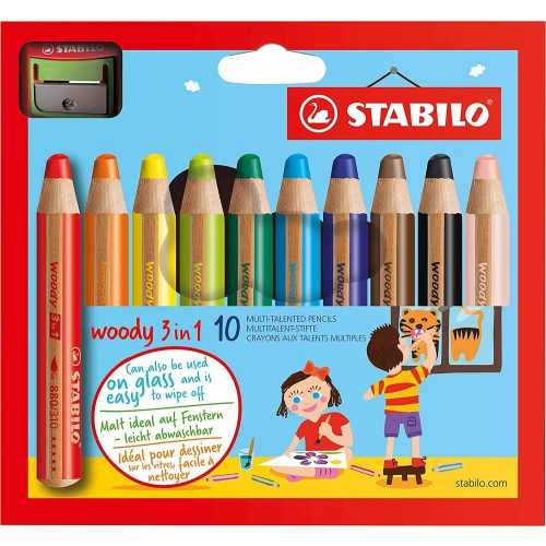 Pack De 10 Crayons Multi Talents Woody 3in1