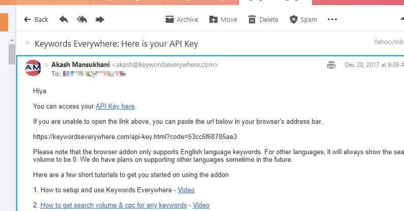 Keywords Everywhere - API Key eMail