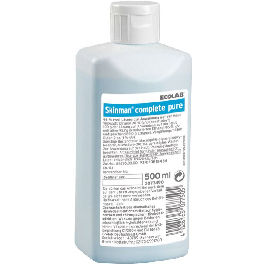 Ecolab Skinman Complete Pure Handedesinfektion 500 Ml Flasche