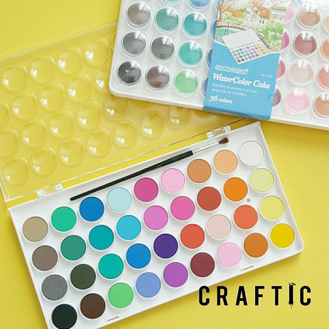 Sale Simbalion Watercolor Cake 36 Colors Design Craft On Carousell