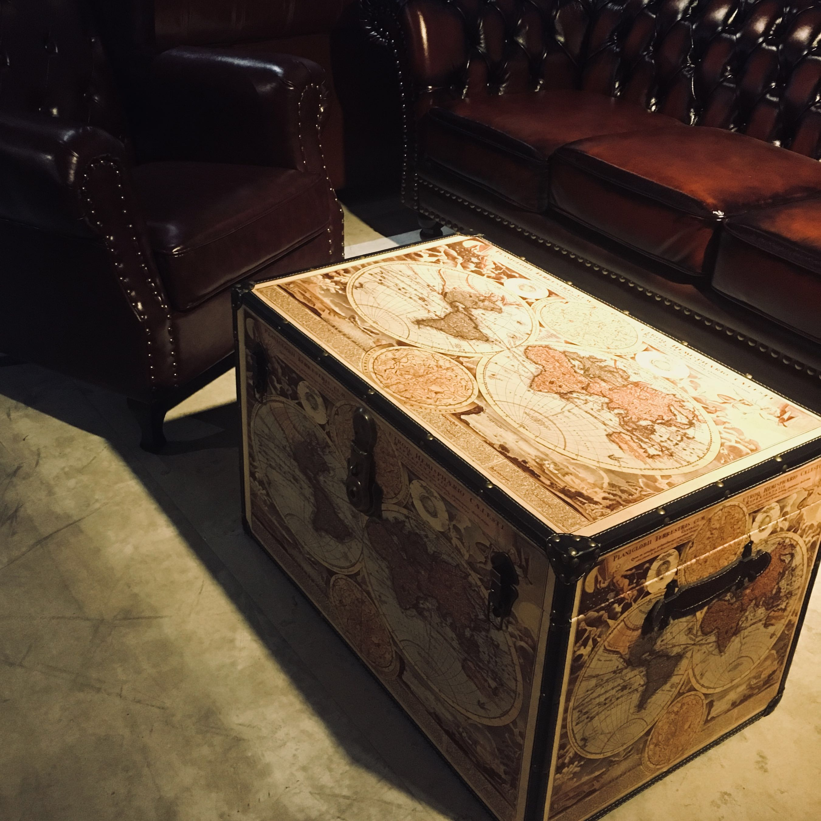Vintage World Map Trunk Coffee Table Furniture Tables Chairs