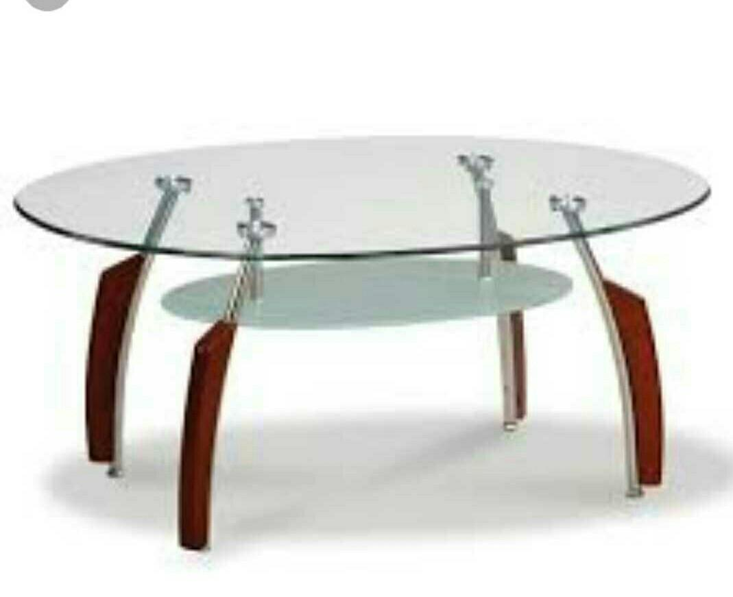Used Oval Shape Glass Coffee Table Furniture Tables Chairs On