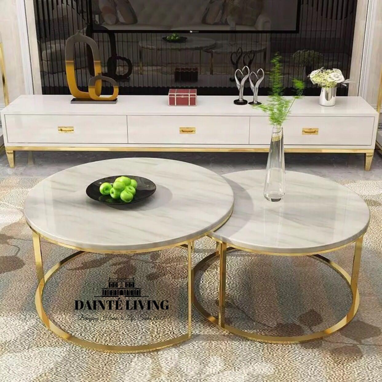 Luxury Marble Coffee Table Chrome Furniture Tables Chairs On