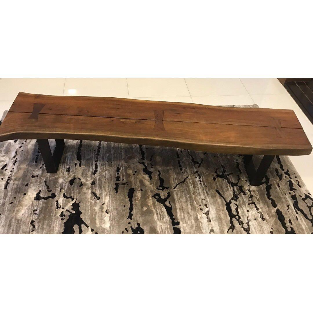 Crate Barrel Yukon Large Coffee Table Bench Solid Wood