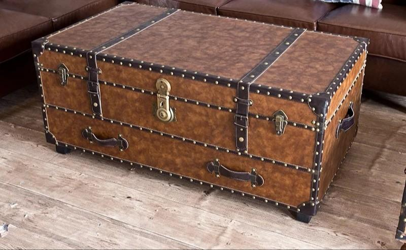1 1m Faux Leather Loft Trunk Coffee Table Furniture Tables