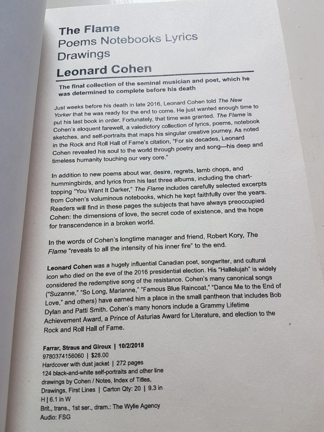 Leonard Cohen Poems 6
