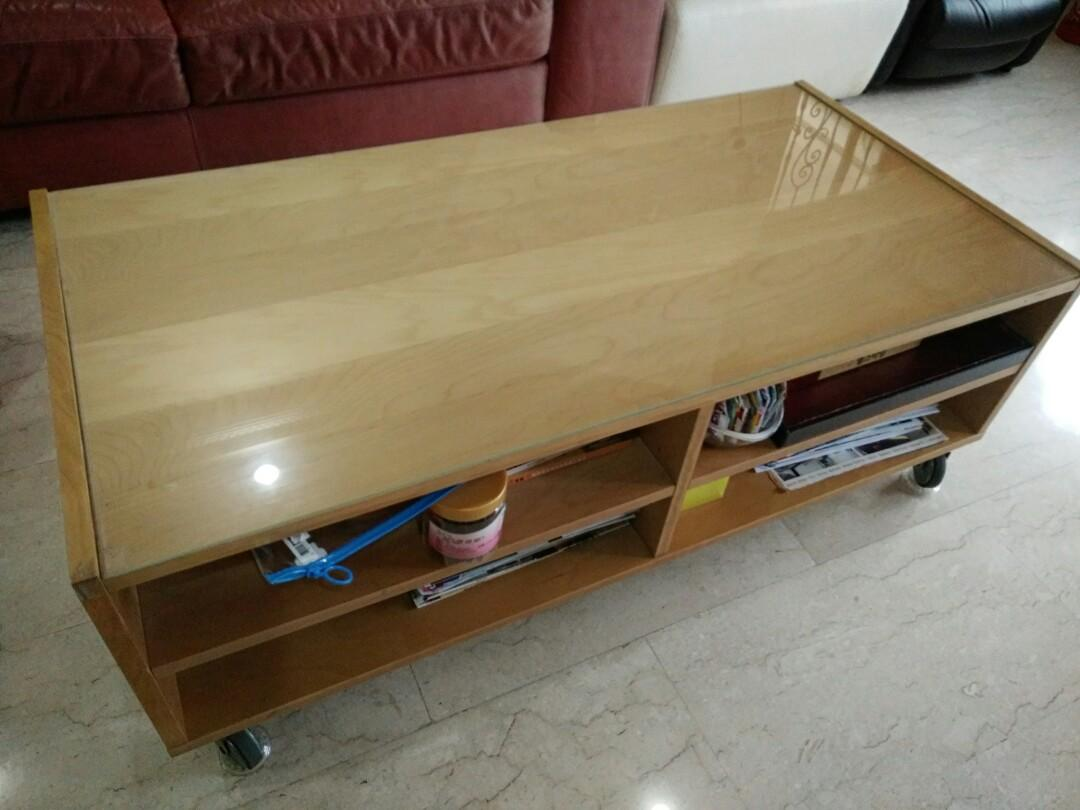 Used Coffee Table With Rollers Shelves N Drawers Furniture