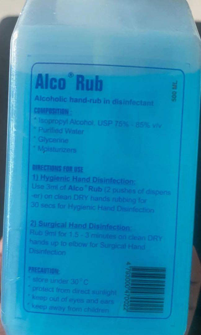Alco Hand Rub In Disinfectant Hand Sanitizer 500ml Health