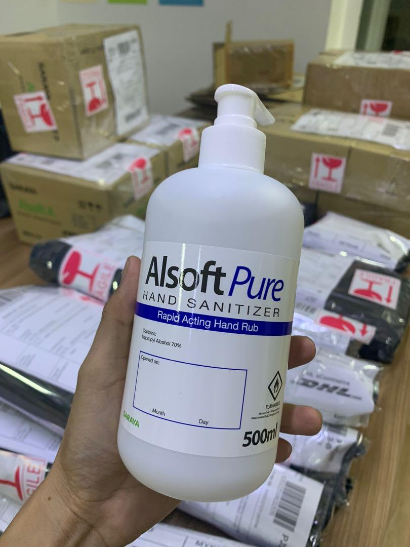 Alsoft Pure Hand Sanitiser Alcohol Base 500ml Health Beauty