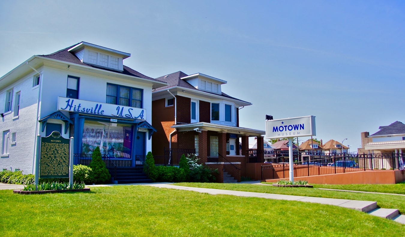 The exterior of the small Motown Museum in Detroit, Michigan
