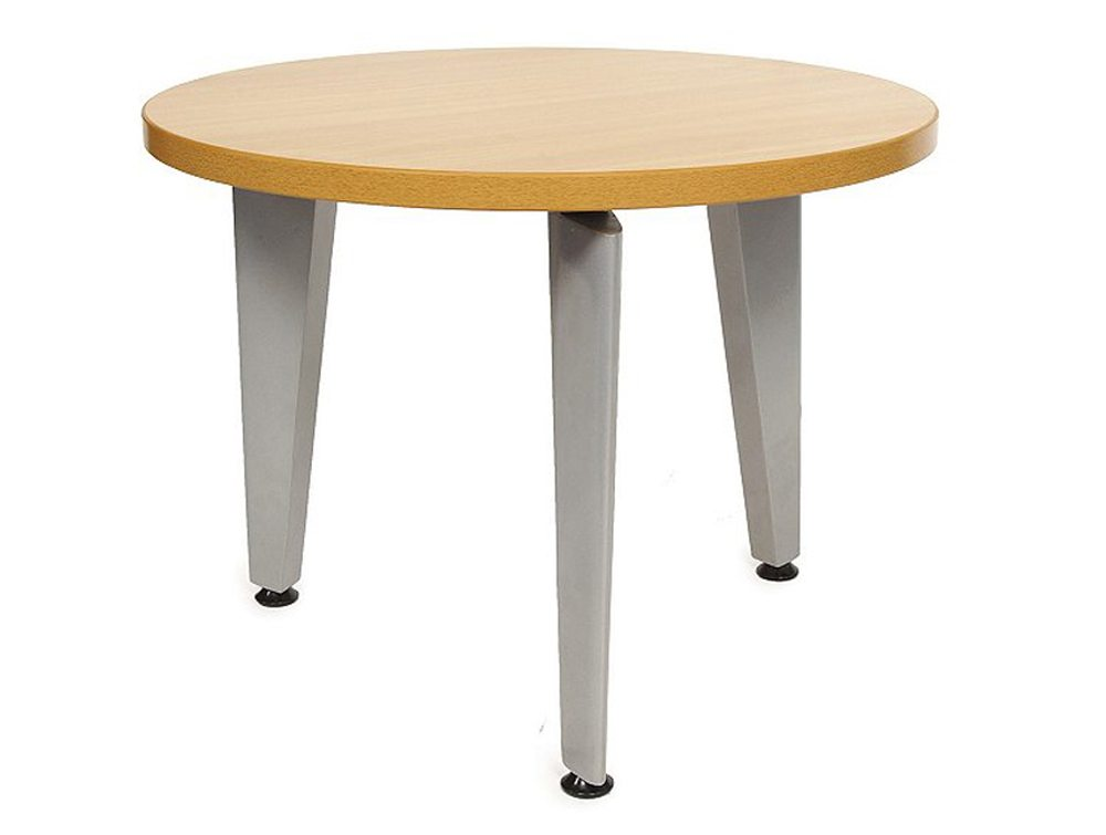 Elite Round Coffee Table With Silver Legs In Beech Radius Office