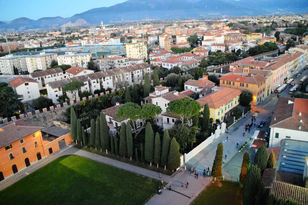 View of Pisa from the top of the tower