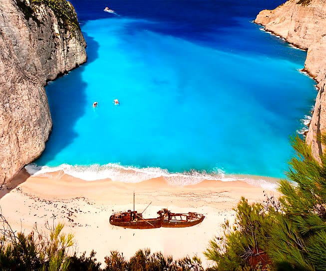 Navagio beach witha ship wreck on Zakynthos Greece