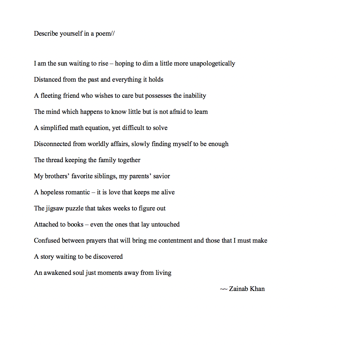 Poems About Yourself 1