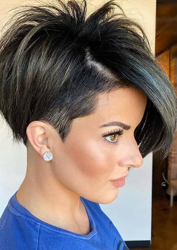 Short undercut hairstyle with hair tattoo. Trendy Undercut Short Pixie Haircut Styles For Women In 2020 Primemod