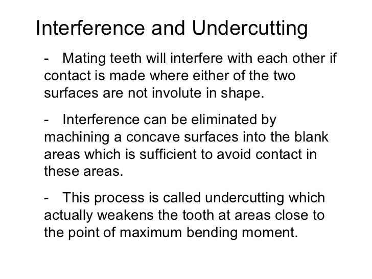 Interference and undercutting of mating gears. Gears