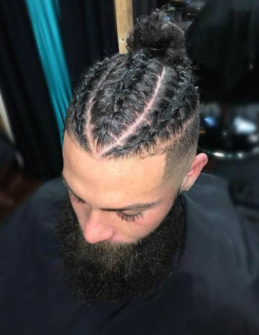 This corn row fade man bun combination is giving us all the feels man bun hairstyles braided hairdo mens braids hairstyles. Braids For Men 35 Of The Most Sought After Hairstyles 2020