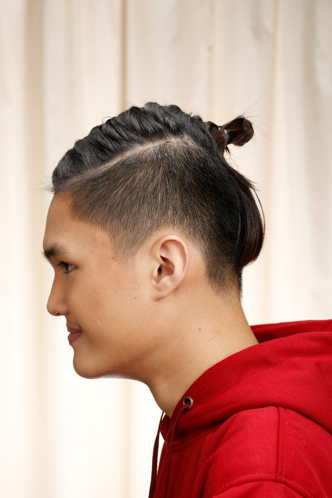 2.6 high skin fade with thick part and dark blonde pompadour; Man Bun Haircut Ideas For Pinoys All Things Hair Ph