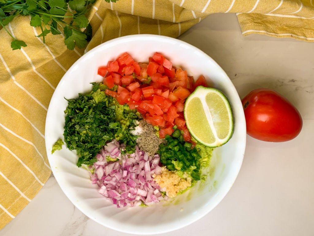 prepped ingredients for homemade guacamole recipe