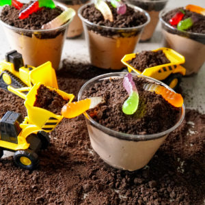 Oreo Dirt Cups with Construction Toys