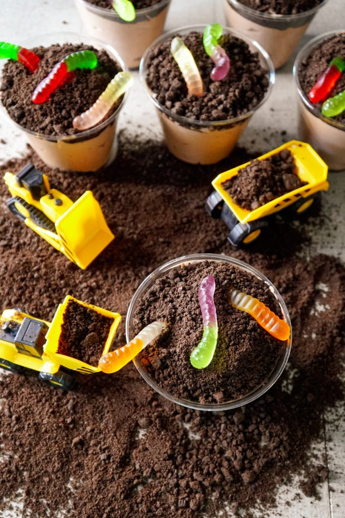 Oreo Dirt Cups with Construction Toys and Gummy Worms