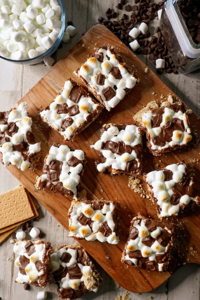smores dessert on a cutting board