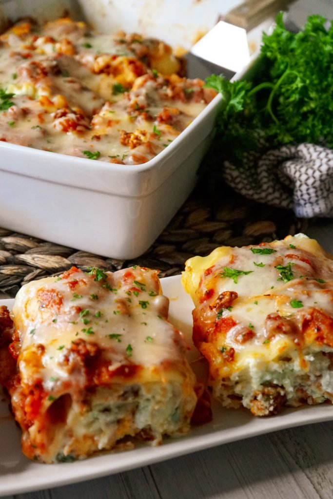 Lasagna roll ups topped with parsley