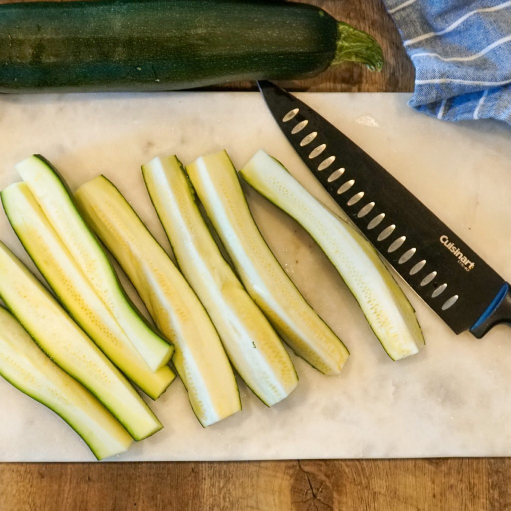 Trimmed And Quartered Zucchini