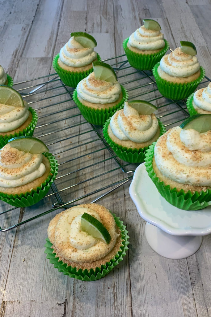Finished Key Lime Cupcakes On A Cooling Rack