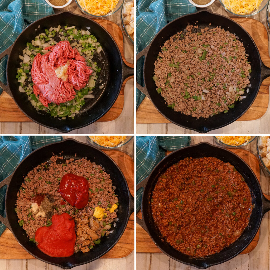 Gallery of steps on how to make sloppy Joe filling for the tater tot casserole.