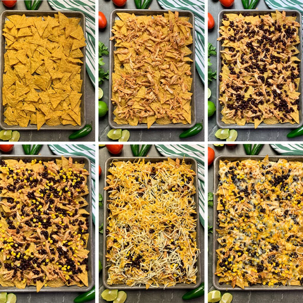 All the steps to layer the chicken nacho ingredients and then bake them.