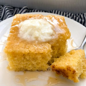 sweeet cornbread recipe with butter and honey on top
