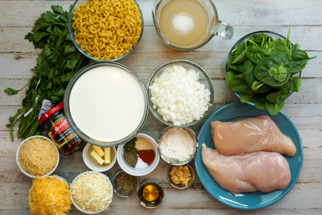 All the Ingredients need to make Tuscan chicken mac and cheese.