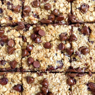 Healthy Oatmeal Cookie Bars cut into squares for serving
