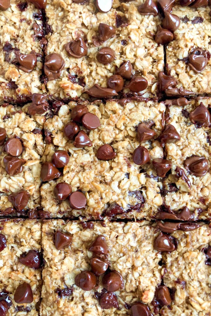 baked oatmeal breakfast bars cooled and sliced