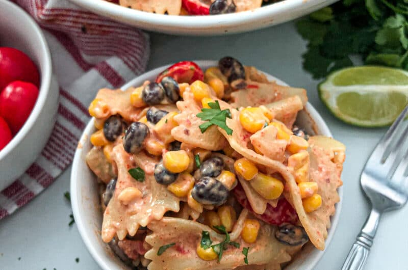 Close up photo of Mexican pasta salad in a serving bowl